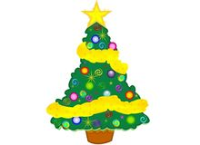 Christmas Tree with Yellow Star and Garland. A Christmas tree illustration with golden yellow star shaped topper and garland and coloured Christmas balls and Royalty Free Stock Image