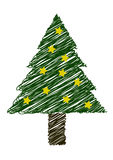 Christmas tree with yellow stars Royalty Free Stock Image