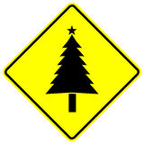 Christmas tree yellow vector sign Stock Photos