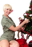 Christmas tree young happy woman Royalty Free Stock Photography