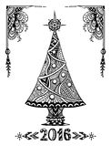 Christmas Tree in Zen-doodle style black on white Stock Photography