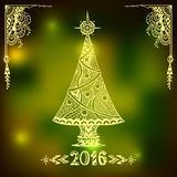 Christmas Tree in Zen-doodle style  on blur background in  green Royalty Free Stock Photo