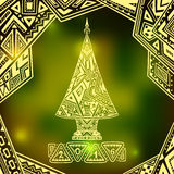 Christmas Tree in Zen-doodle style  on blur background in  green Stock Photo