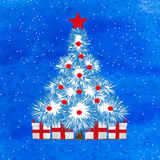 Christmas treer on snowy blue background Royalty Free Stock Photography