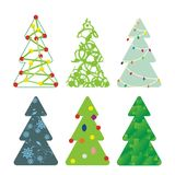 Christmas Trees 02. Vector illustration set - six decorative Christmas trees Royalty Free Stock Images