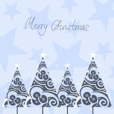 Christmas trees. Abstract christmas trees and stars stock illustration