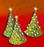 Christmas Trees. Illustration of Whimsical geometric Christmas trees stock illustration