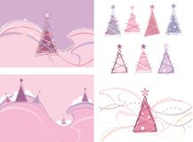Christmas trees. Collection of winter trees, backgrounds royalty free illustration