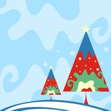 Christmas trees. Christmas design with colorful trees Stock Photos