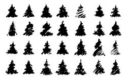 Christmas trees. Traced silhouettes of drawn christmas trees Royalty Free Stock Image