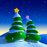 Christmas trees. A couple christmas trees on a snowy enviroment Royalty Free Stock Photos