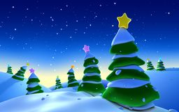 Christmas trees. A bunch of christmas trees on a snowy enviroment Stock Photography