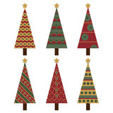 Christmas trees. Set of six Christmas tree isolated on white background.EPS file available royalty free illustration