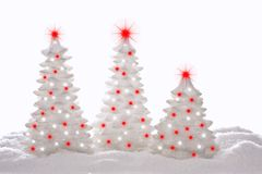 Christmas trees. Contemporary sparkle Christmas trees, studio isolated Royalty Free Stock Photo