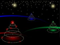 Christmas trees. Abstract christmas trees with stars royalty free illustration