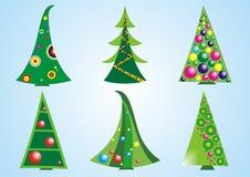 Christmas trees. Set of six  Christmas trees on a blue background Stock Photo