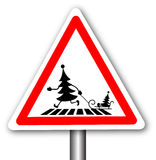 Christmas trees. Road sign with fir trees crossing the road isolated on the white background Royalty Free Stock Photography