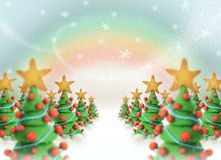 Christmas trees 2011. Christmas trees with plasticine, snow and color rainbow background Stock Photos