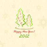 Christmas Trees 2012 (postcard in sketch style). Vector Illustration Stock Image