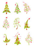 Christmas trees. A collection of modern christmas trees Stock Photography