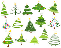 Christmas trees. Set of various Christmas trees Stock Photos