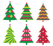 Christmas trees. Decorated stylized Christmas trees collection Royalty Free Stock Image