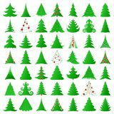Christmas trees. Elegant Christmas trees and decorated ones Stock Photos