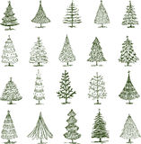 Christmas trees. Vector drawing of a different christmas trees Royalty Free Stock Photo