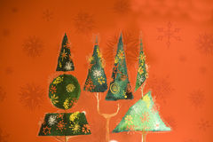 Christmas trees. Colorful Christmas trees with beautiful background Royalty Free Stock Photography