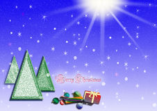 Christmas trees. And gifts on blue background Stock Photography
