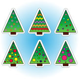Christmas trees. Collection of Christmas trees. Icons & Objects Stock Image