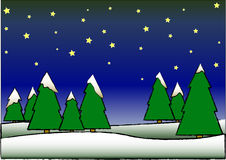 Christmas Trees. Vector illustration of a christmas night with snow and pine trees Royalty Free Illustration