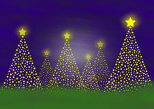 Christmas trees. Golden christmas trees out of many little stars and in different sizes royalty free illustration