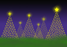 Christmas trees. Cheerful christmas trees out of many little stars in front of a gradient background stock illustration