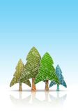 Christmas Trees. Magazine paper like noel trees Royalty Free Stock Photos