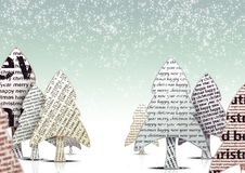 Christmas Trees. Magazine paper like Typographic christmas trees Royalty Free Stock Photo