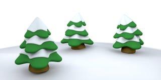 Christmas trees. 3D render of snowy Christmas trees stock illustration