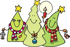 Christmas trees. Three christmas trees. Christmas theme. vector image Royalty Free Stock Image