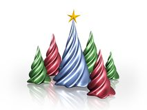 Christmas trees. Abstract Christmas trees on white background Stock Photo