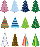 Christmas Trees. Set of three different tree shapes with 5 different patterns in multiple colors Stock Illustration
