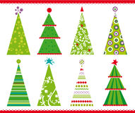 Christmas trees. Set of christams trees with shapes, swirls and other decorations vector illustration