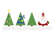 Christmas Trees And Santa Claus Stock Photos
