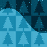 Christmas Trees Background. Blue Christmas trees pop art panel style background Royalty Free Stock Photo