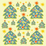 Christmas trees background. Cartoon christmas trees and stars on a light background Royalty Free Stock Photo