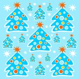 Christmas trees background. Cartoon christmas trees and stars on a blue background Royalty Free Stock Photos