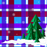 Christmas trees on the background of the red, blue, white cell. stock photography