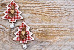 Christmas trees background. Christmas trees on wooden background Stock Photo