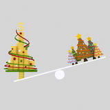 Christmas trees balance. 3D.  Royalty Free Stock Photos