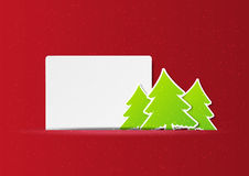 Christmas trees with banner Stock Images