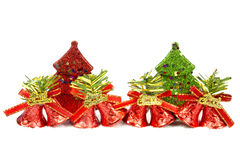 Christmas trees and bells. On white background Stock Photo